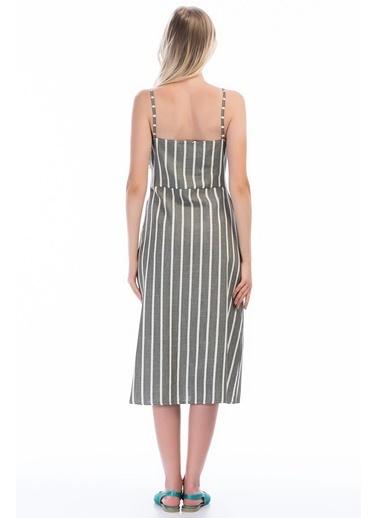 Cottonmood 83012451 Keten Çizgili Göğsü Bağlama Detaylı Elbise Haki